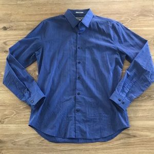 Express Fitted Button Down Pin Stripe Dress Shirt